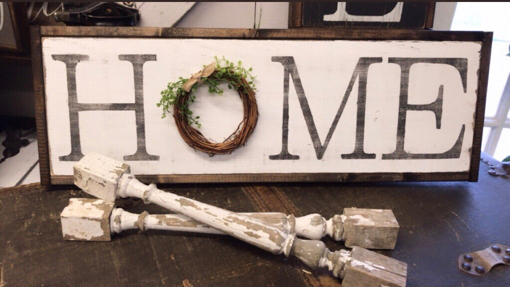 H O M E + grapevine wreath