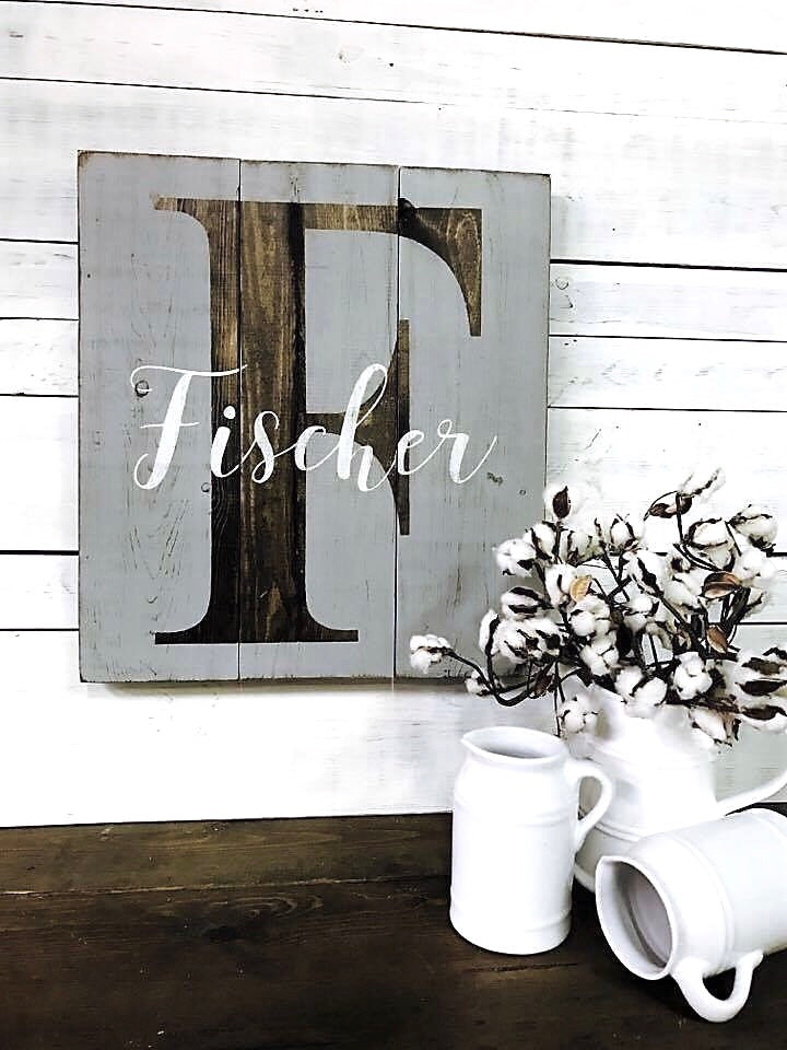 Monogram + Name Rustic Wood Sign