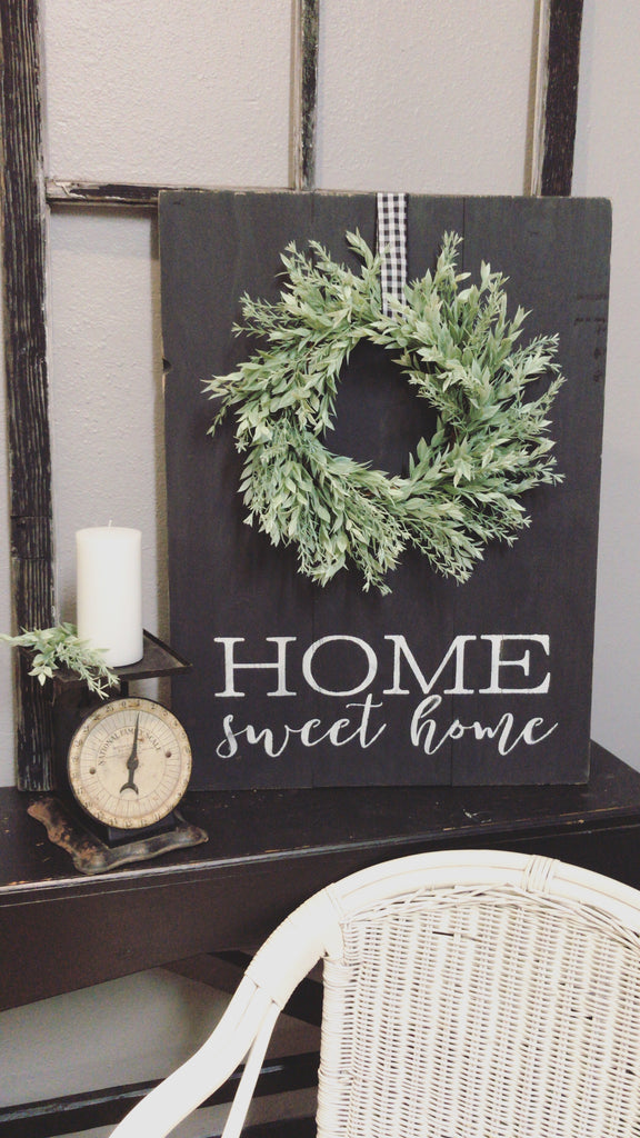 Home Sweet Home Sign With Green Wreath