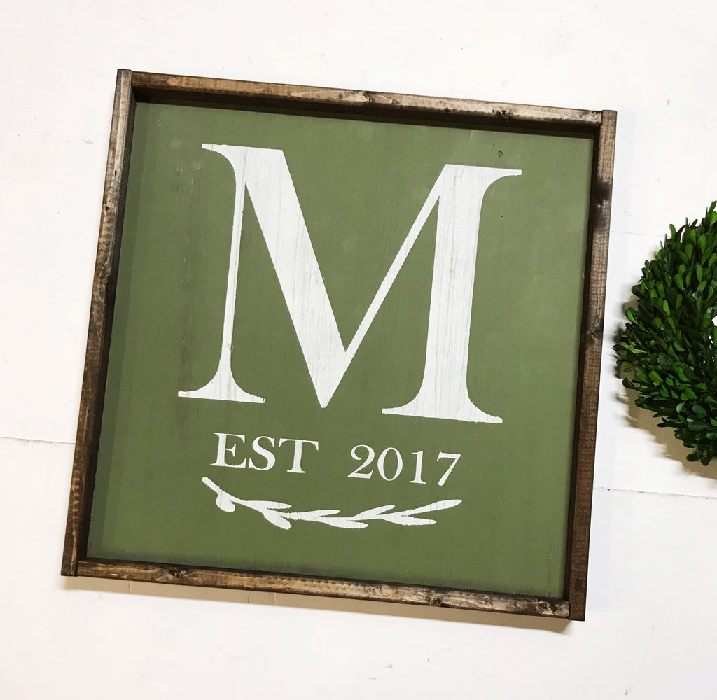 Monogram || Est. Year || Framed