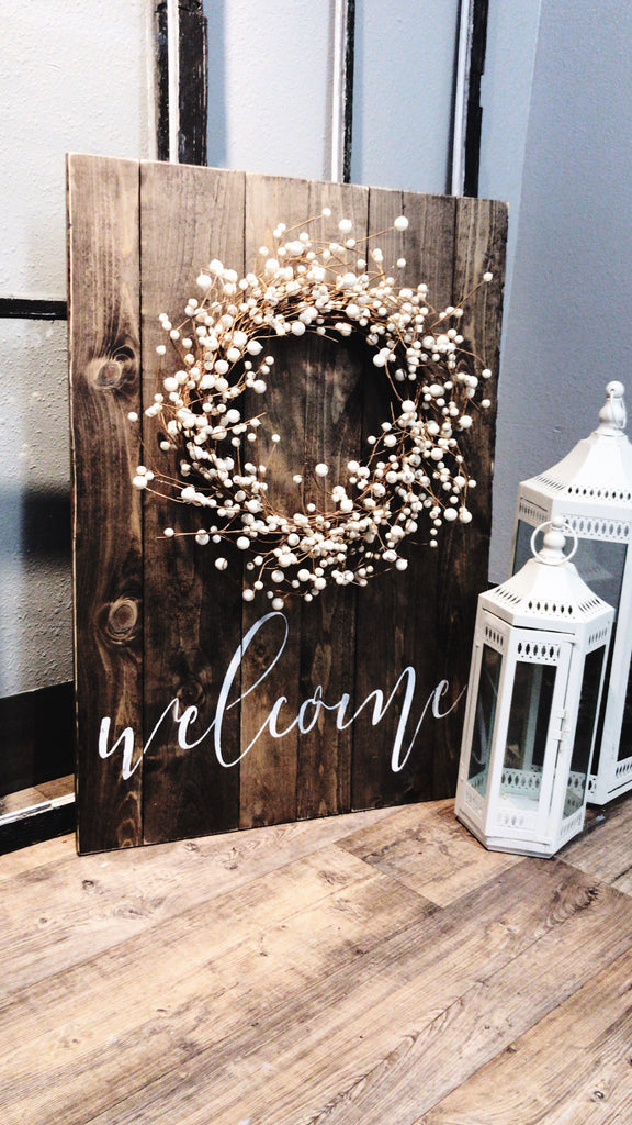 Welcome Sign With Berry Wreath
