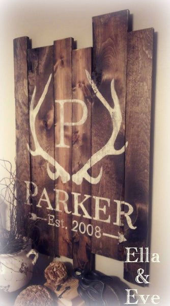 Parker Sign : Antler Monogram + Last Name & Est Year
