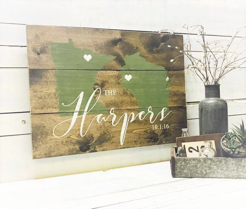 State ♥ State + Last Name & Est. Date :: Rustic Wood Sign