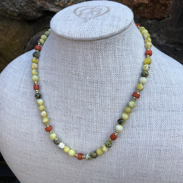 Yellow Turquoise and African Bauxite Pipestone Bead Necklace