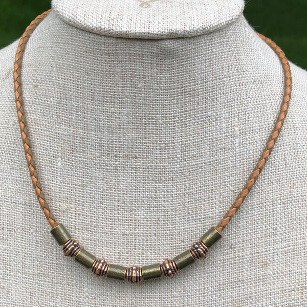 Vegan Bronze Tube Necklace with Blue Lapis Charm