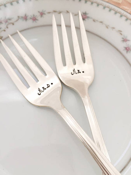 """Mr & Mrs"" Vintage Cake Forks"