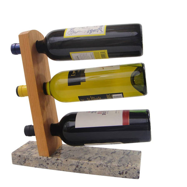 Granite and Wood Tabletop Wine Rack