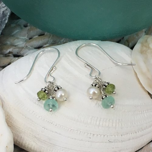 Ocean Trio Chalcedony Peridot Pearl Sterling Silver Earrings