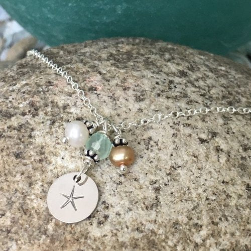 By the Sea Starfish Pearl and Chalcedony Sterling Silver Necklace