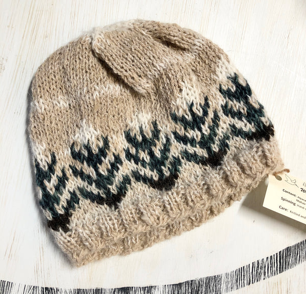 Handspun and Knitted Chevron Alpaca Hat