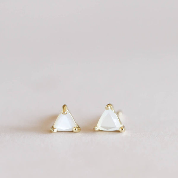 Mother of Pearl Mini Energy Gem Post Earrings