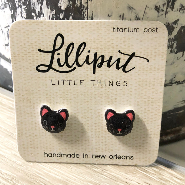 Black Kitty Cat Earrings
