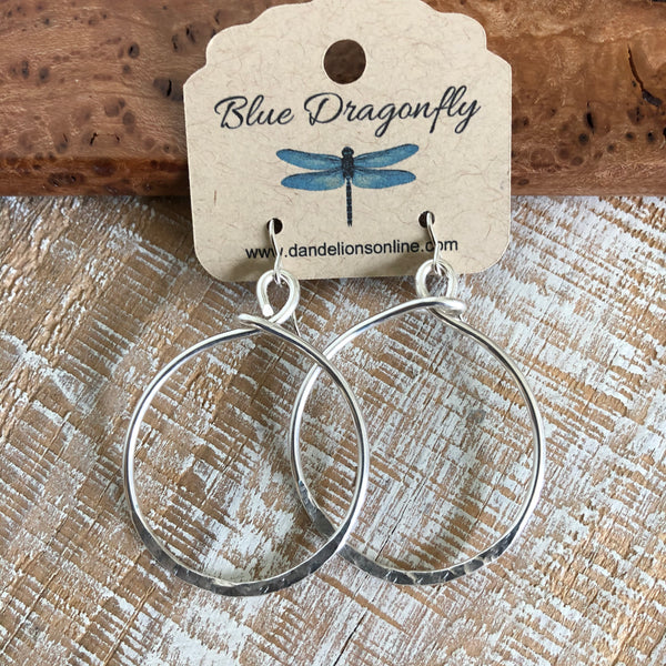 Sterling Silver Hammered Edge Hoops