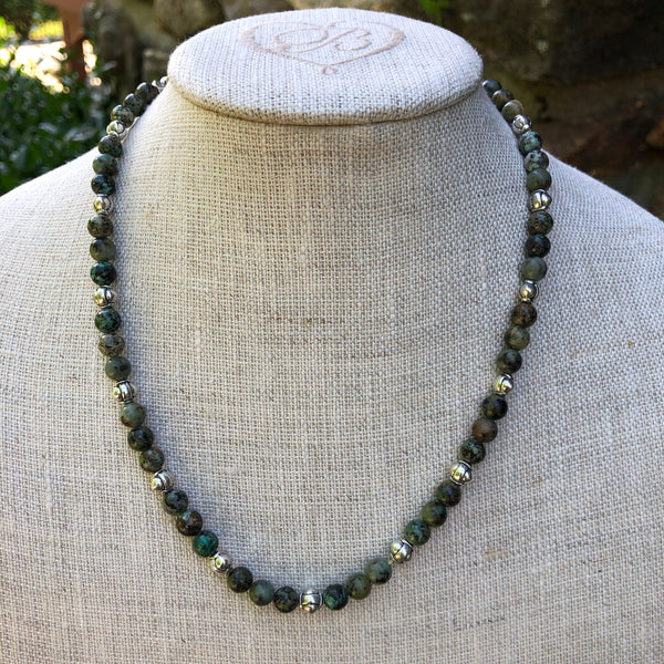 African Turquoise Necklace in Silver