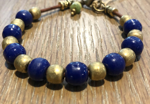 1960's Blue Prosser African Trade Bead Bracelet on Leather