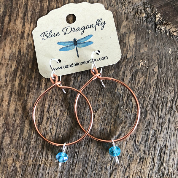 Copper Hoops with Crystal Bead