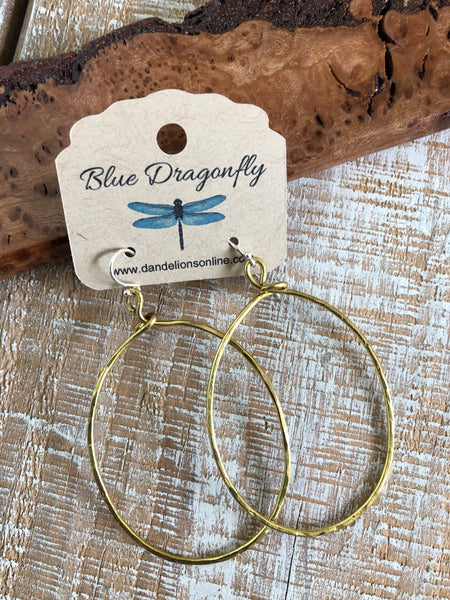 Hammered Oval Brass Hoops