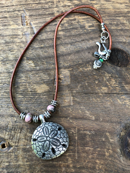 Sand Dollar Necklace with Rhodonite