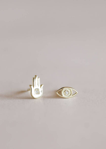 Hamsa Hand and Eye Complements Earrings