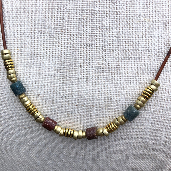 Single Strand Antique African Sandstone Trade Bead Necklace on Leather
