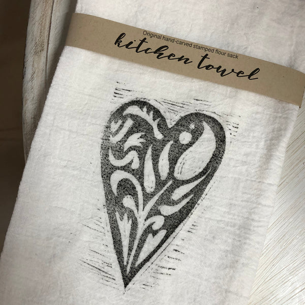Heart Stamped Flour Sack Kitchen Towel