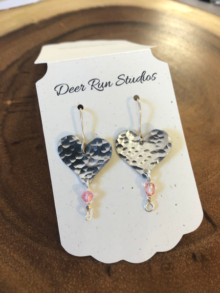 Sterling Silver and Bead Heart Earrings