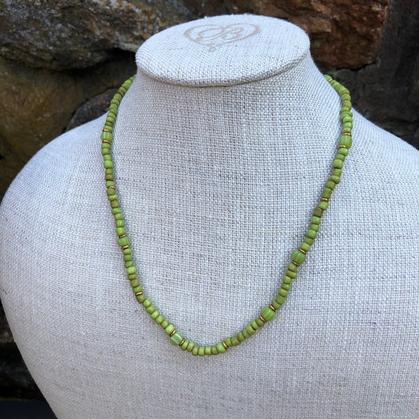 Vintage Green Maasai Tribe Bead Necklace