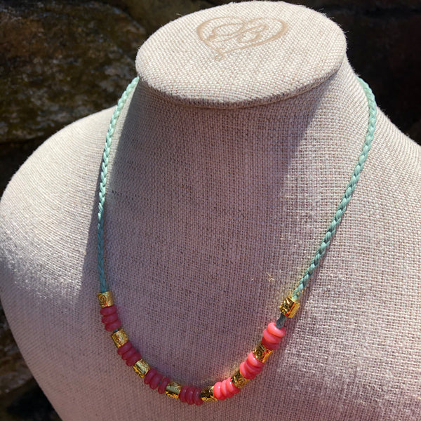 Vintage Zusura Ghanaian Pink Bead Necklace on Vegan Cord
