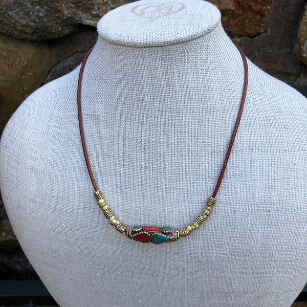 Tibetan Pendant Necklace on Leather