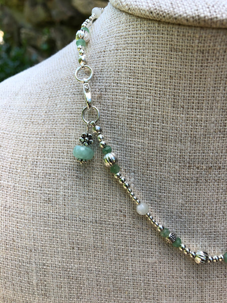 Silver Necklace with Jade and Moonstone