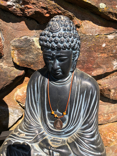 Large Oval Antique Buddha Pendant on Leather Cord