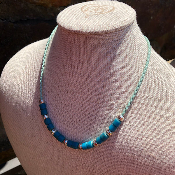 1950's African Blue Prosser Bead Necklace on Vegan Braided Cord