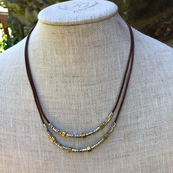 2 Strand Thai Silver & Gold Bead Necklace