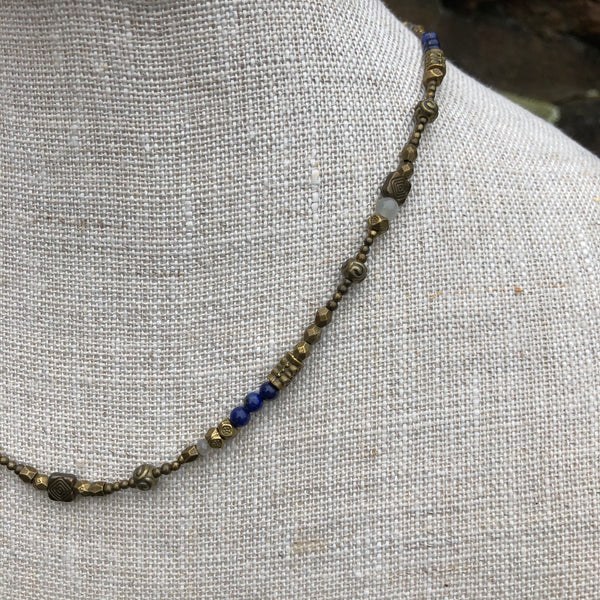 Bronze Necklace with Lapis and Moonstone