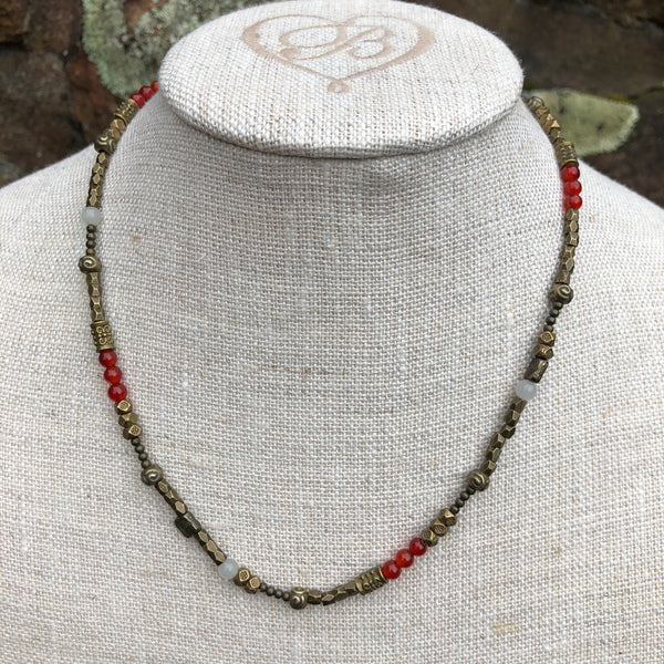 Bronze Necklace with Red Agate and Moonstone