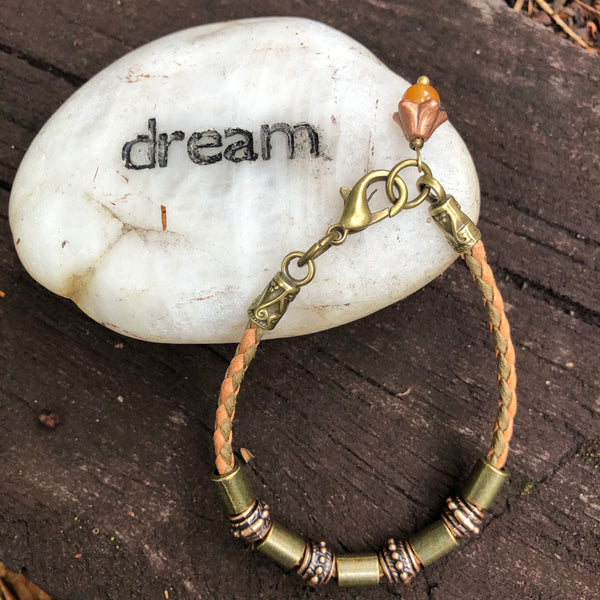 Bronze Tube Bracelet with Carnelian Charm