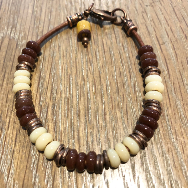 Vintage Umber Zusura Bead Bracelet on Leather