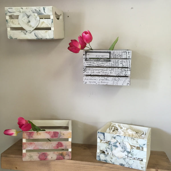 Hand Painted & Decoupaged Mini Crates
