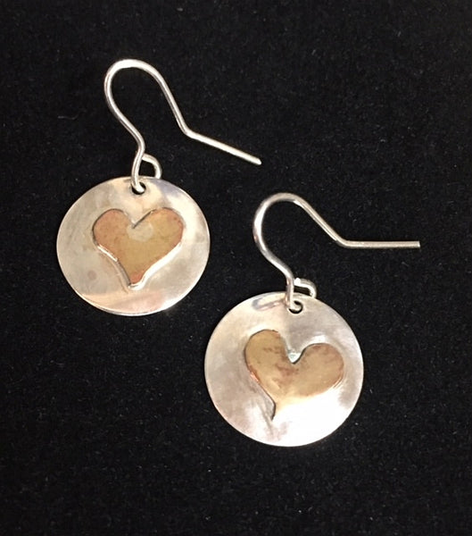 Sterling and Copper Heart Earrings