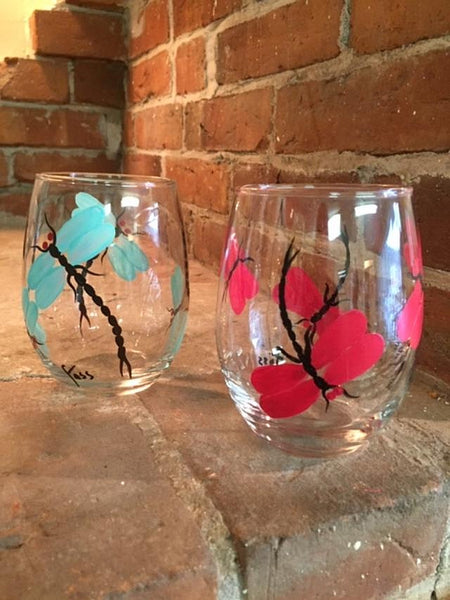 Set of 4 Multicolor Dragonfly Stemless