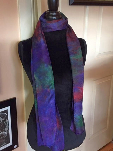 Hand Dyed Silk Scarf-Midnight