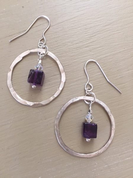 Hammered Sterling Hoops with Purple Fluorite