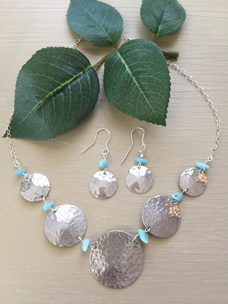 Amazonite Bead and Silver tone Earrings