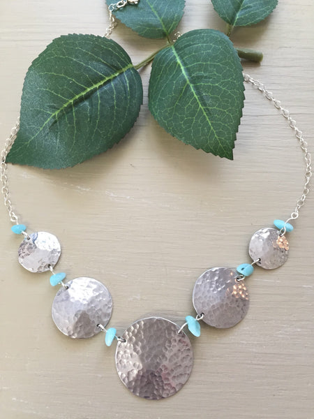 Amazonite Bead and Silvertone Necklace