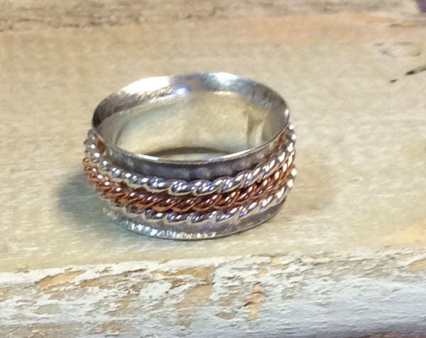 Sterling and Copper Spinner Ring ~ Size 7.5 Only