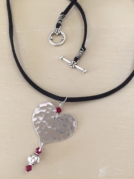 Silver Heart Necklace with Red Crystal Bead
