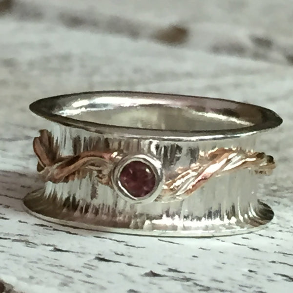 Sterling Copper and Tourmaline Spinner Ring