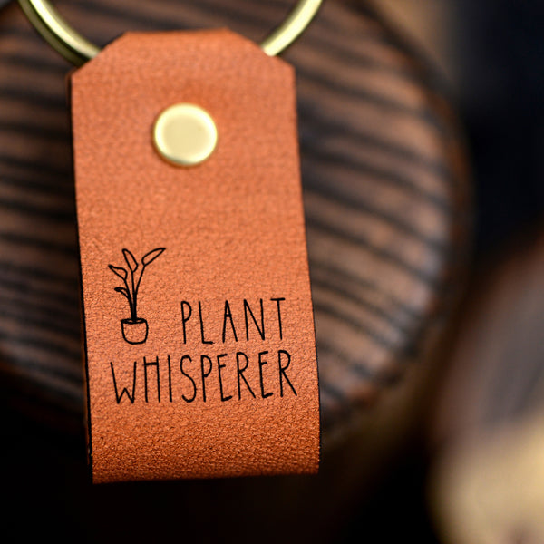 Plant Whisperer Leather Keychain