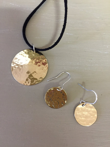 Hammered Brass Circle Earring and Necklace Set