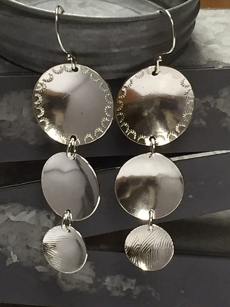 Sterling Silver Triple Disc Earrings